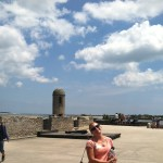 The author on the roof of Castillo de San Marcos- armed..with water bottles