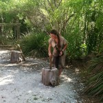 Grinding corn at the Old Florida Museum