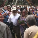 Hiker wedding in the woods