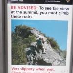 Warning sign at Chimney Tops Trailhead, Great Smoky Mountain National Park