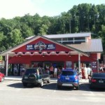 The red barn, entrance to the Smoky Mountain Alpine Coaster in Pigeon Forge, Tennessee