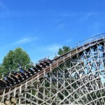 Riding the wooden Thunderhead roller coaster at Dollywood in Pigeon Forge, Tennessee.