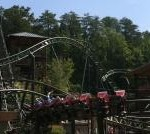Riding the Firechaser roller coaster at Dollywood.