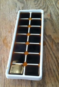 save your old coffee by freezing it in ice cube trays